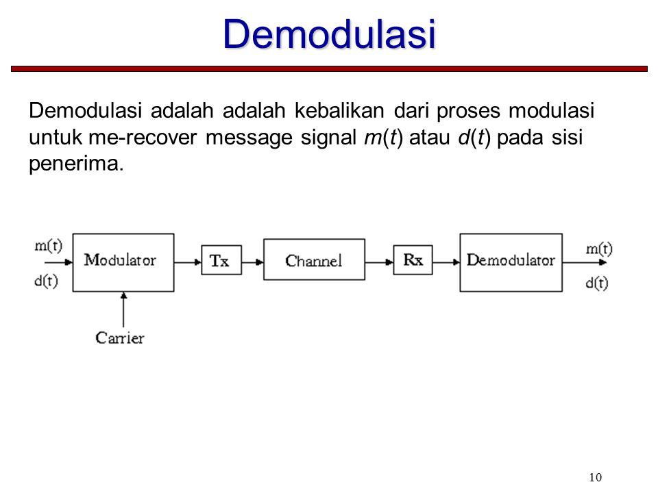 Demodulasi Demodulasi adalah adalah kebalikan dari proses modulasi untuk me-recover message signal m(t) atau d(t) pada sisi penerima.