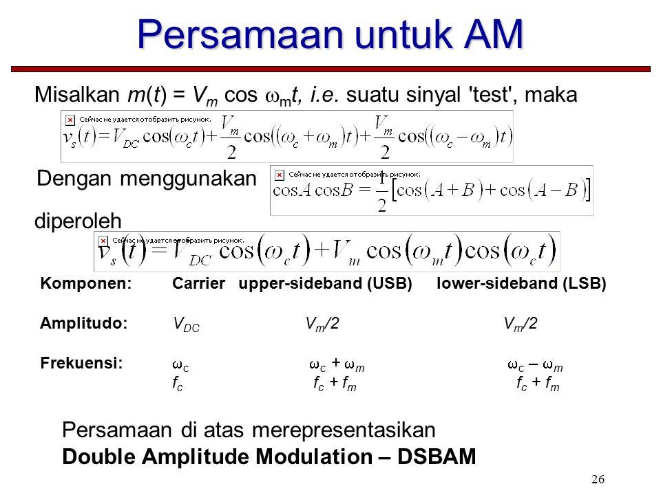 Persamaan untuk AM Misalkan m(t) = Vm cos mt, i.e. suatu sinyal test , maka. Dengan menggunakan.