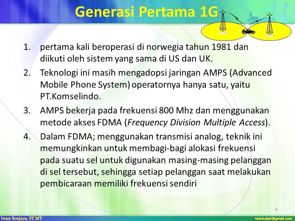 Generasi Pertama 1G pertama kali beroperasi di norwegia tahun 1981 dan diikuti oleh sistem yang sama di US dan UK.