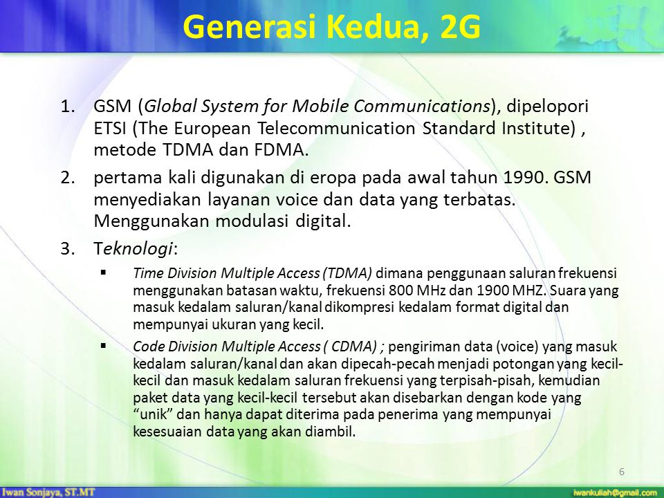 Generasi Kedua, 2G