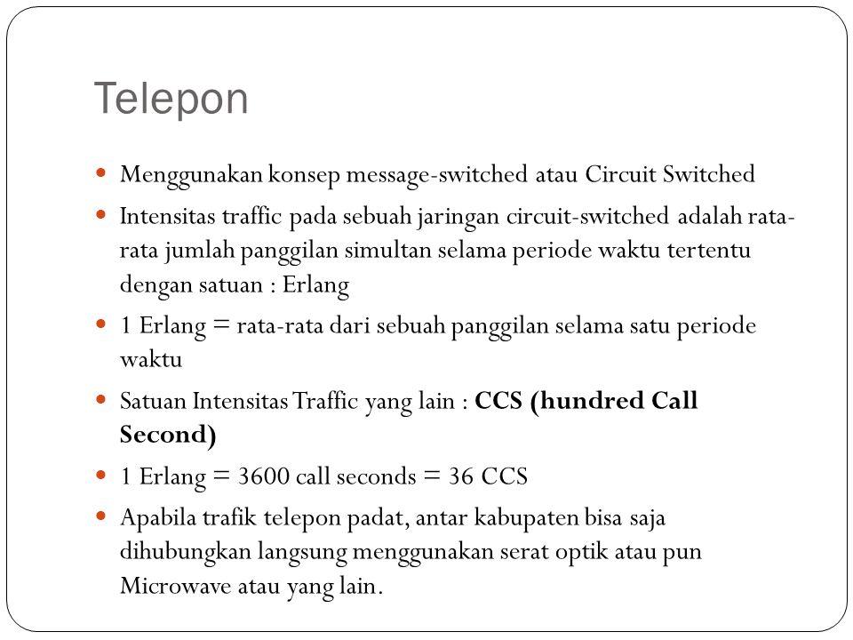 Telepon Menggunakan konsep message-switched atau Circuit Switched