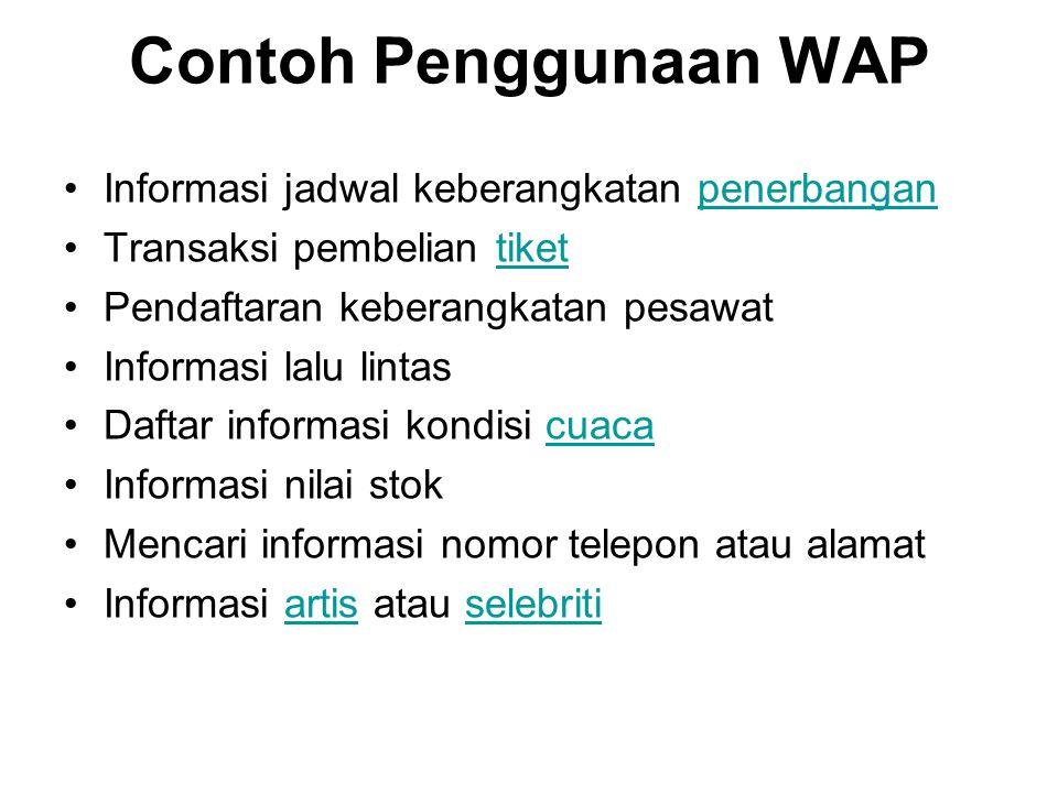 Contoh Penggunaan WAP Informasi jadwal keberangkatan penerbangan