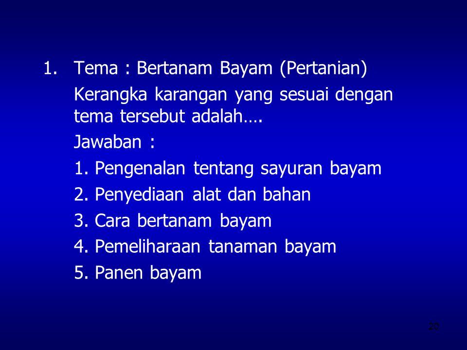 Tema : Bertanam Bayam (Pertanian)