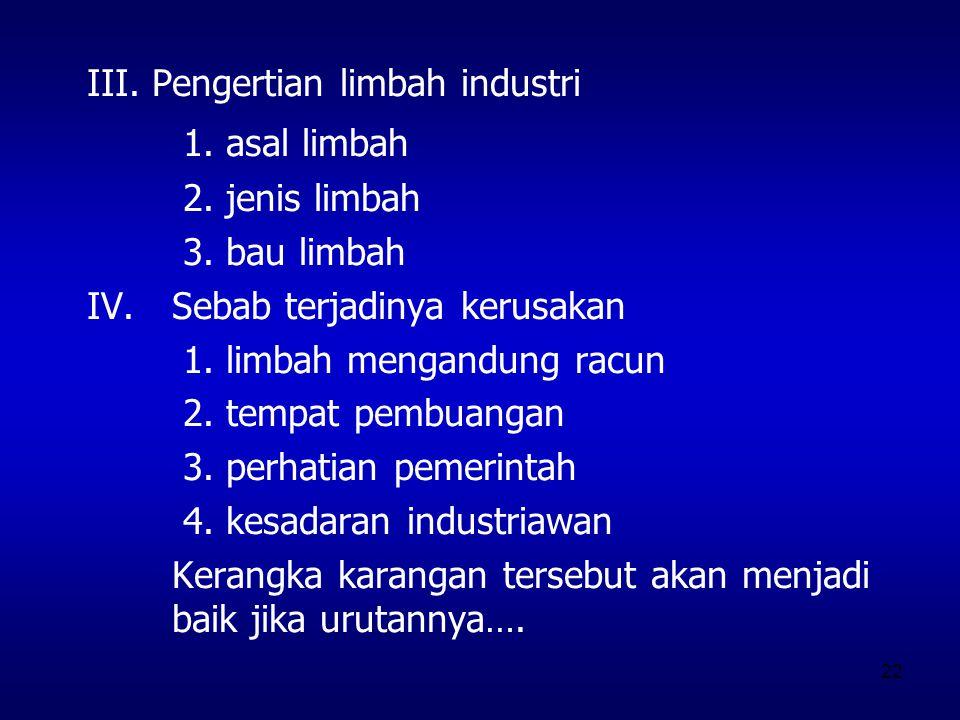 III. Pengertian limbah industri