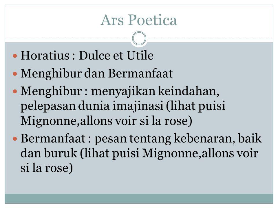 Ars Poetica Horatius : Dulce et Utile Menghibur dan Bermanfaat
