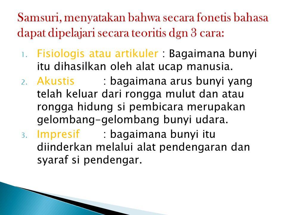 Samsuri, menyatakan bahwa secara fonetis bahasa dapat dipelajari secara teoritis dgn 3 cara: