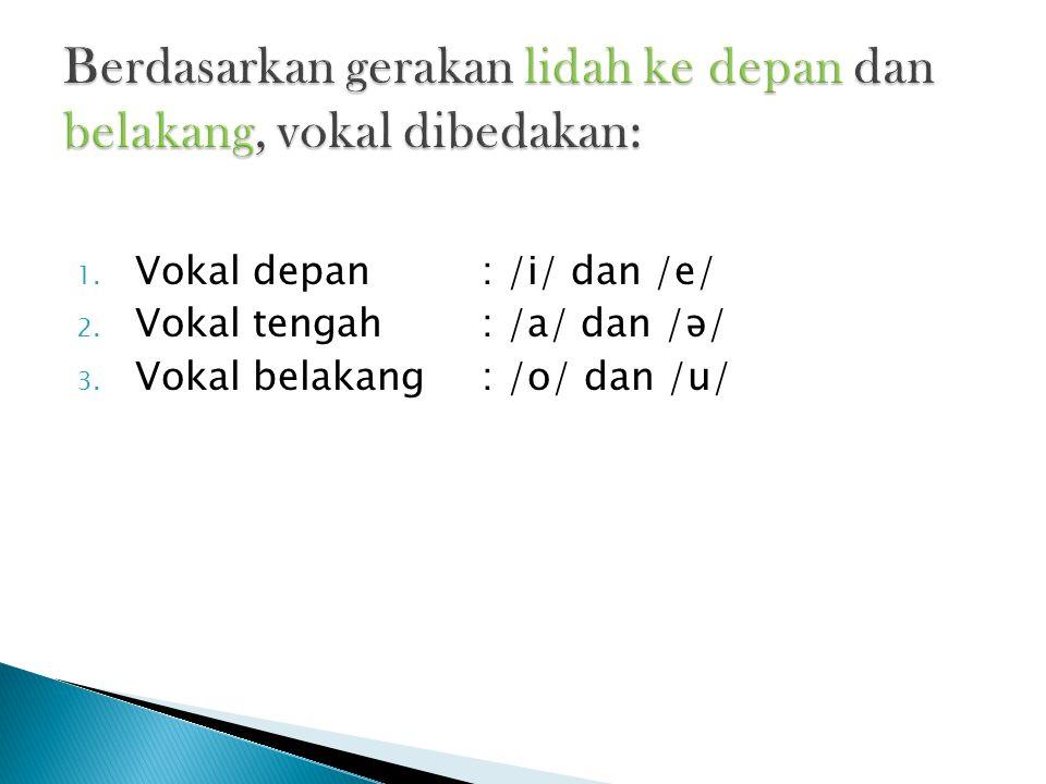 Berdasarkan gerakan lidah ke depan dan belakang, vokal dibedakan: