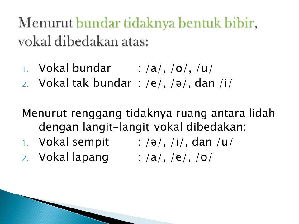 Menurut bundar tidaknya bentuk bibir, vokal dibedakan atas: