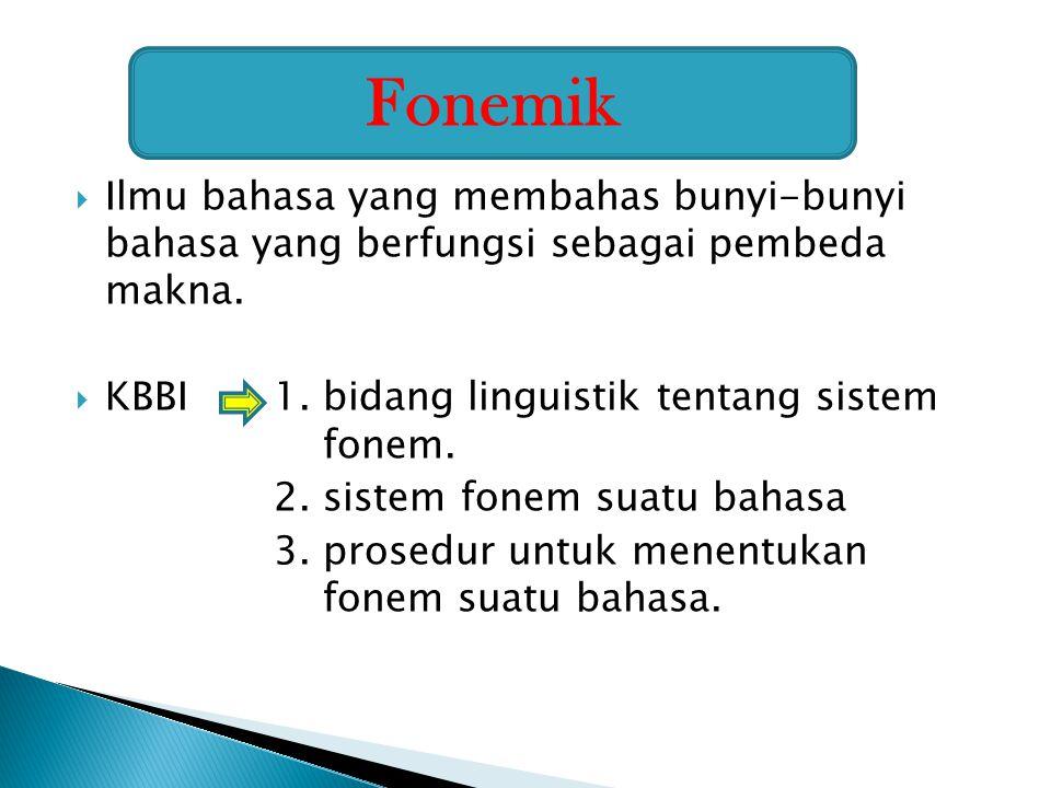 Fonemik Ilmu bahasa yang membahas bunyi-bunyi bahasa yang berfungsi sebagai pembeda makna. KBBI 1. bidang linguistik tentang sistem fonem.