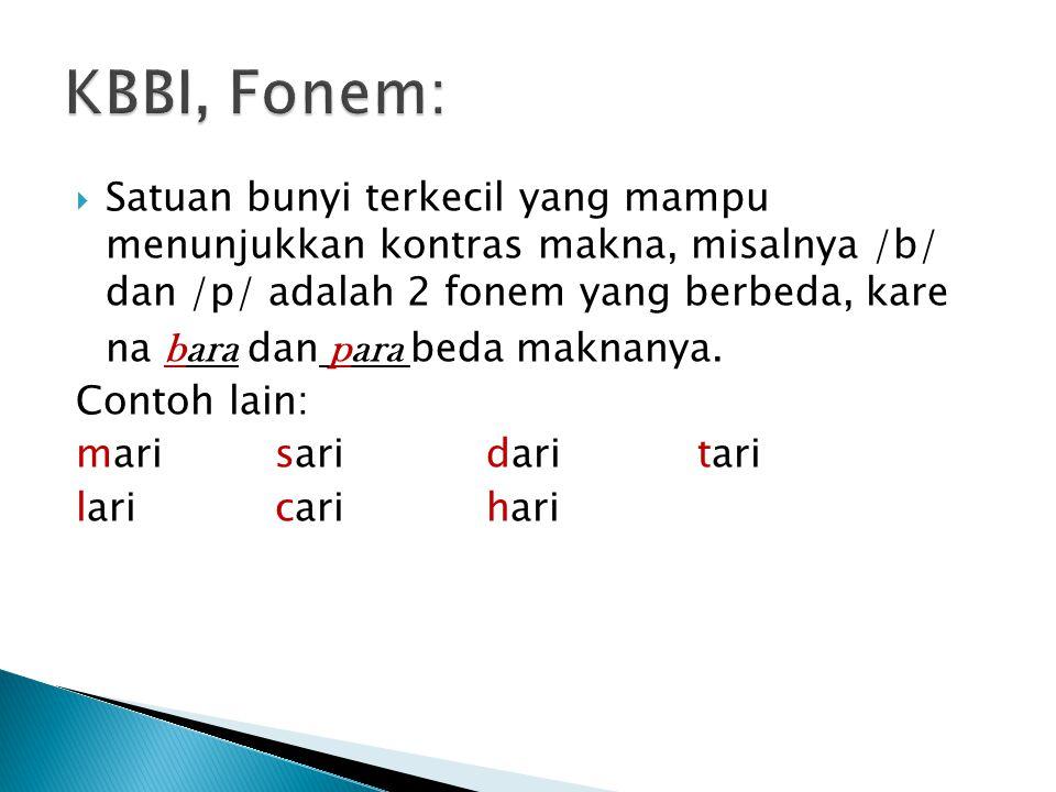 KBBI, Fonem: Satuan bunyi terkecil yang mampu menunjukkan kontras makna, misalnya /b/ dan /p/ adalah 2 fonem yang berbeda, kare.