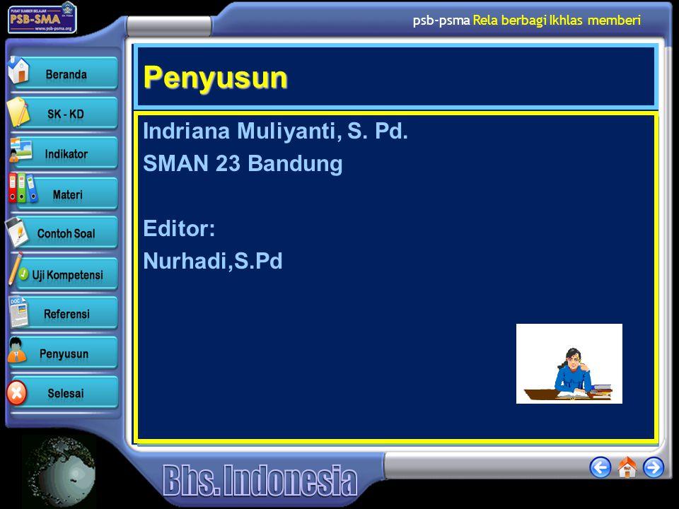 Penyusun Indriana Muliyanti, S. Pd. SMAN 23 Bandung Editor: Nurhadi,S.Pd