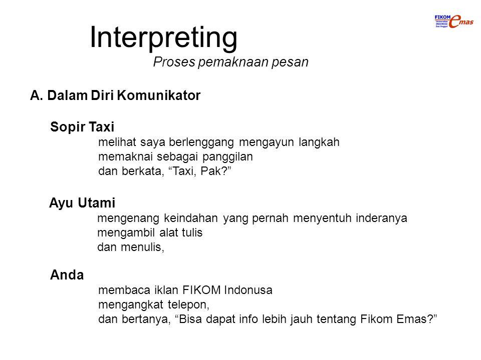 Interpreting Proses pemaknaan pesan A. Dalam Diri Komunikator