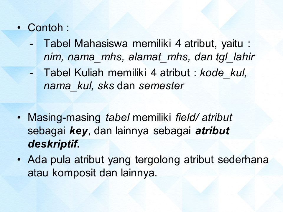 Contoh : Tabel Mahasiswa memiliki 4 atribut, yaitu : nim, nama_mhs, alamat_mhs, dan tgl_lahir.