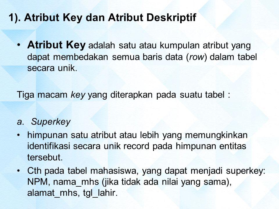 1). Atribut Key dan Atribut Deskriptif