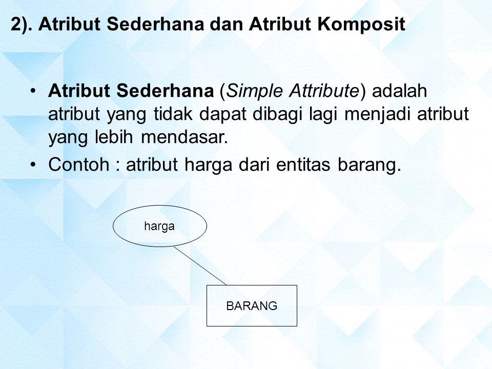 2). Atribut Sederhana dan Atribut Komposit