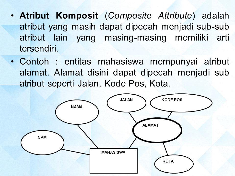 Atribut Komposit (Composite Attribute) adalah atribut yang masih dapat dipecah menjadi sub-sub atribut lain yang masing-masing memiliki arti tersendiri.
