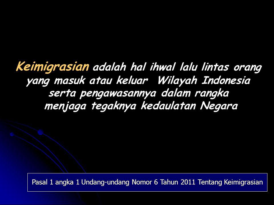 Keimigrasian adalah hal ihwal lalu lintas orang