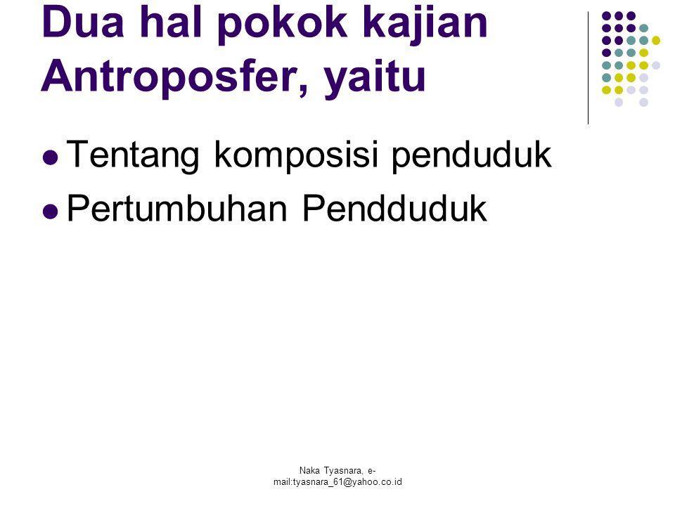Dua hal pokok kajian Antroposfer, yaitu