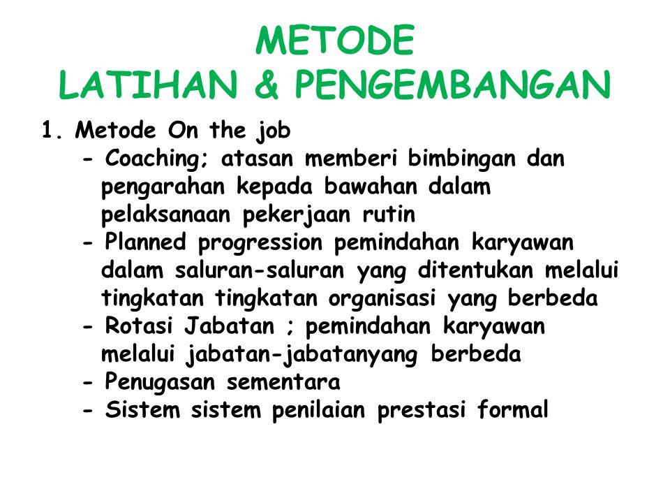 METODE LATIHAN & PENGEMBANGAN