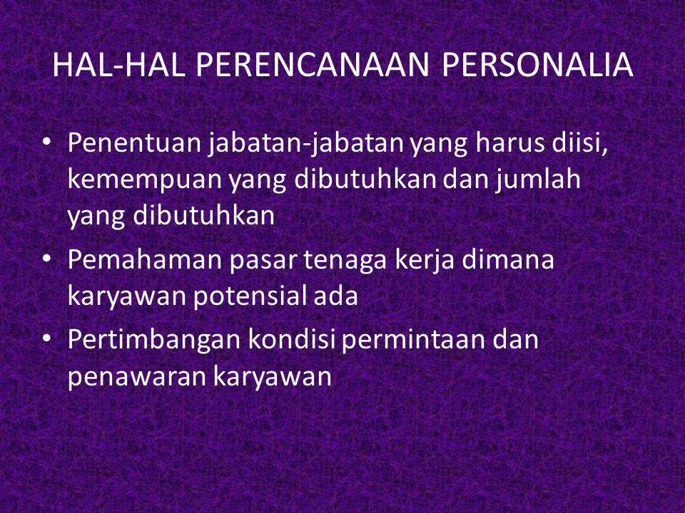 HAL-HAL PERENCANAAN PERSONALIA