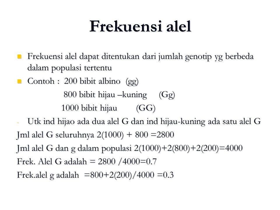 Frekuensi alel Frekuensi alel dapat ditentukan dari jumlah genotip yg berbeda dalam populasi tertentu.