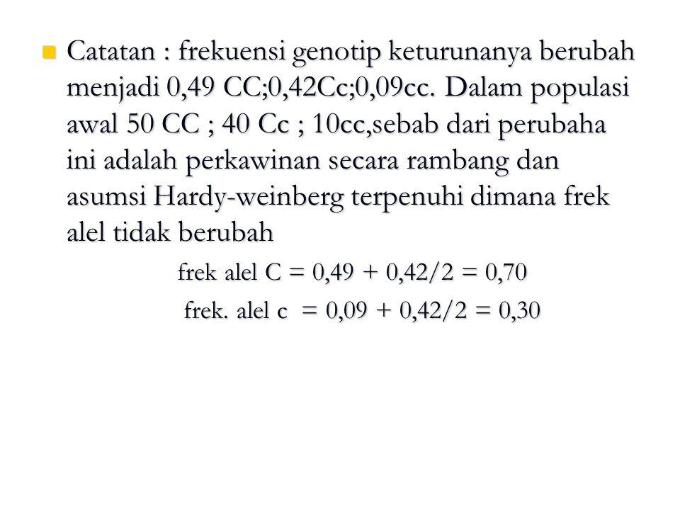 Catatan : frekuensi genotip keturunanya berubah menjadi 0,49 CC;0,42Cc;0,09cc. Dalam populasi awal 50 CC ; 40 Cc ; 10cc,sebab dari perubaha ini adalah perkawinan secara rambang dan asumsi Hardy-weinberg terpenuhi dimana frek alel tidak berubah