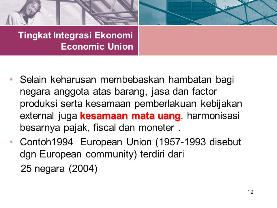 Tingkat Integrasi Ekonomi Economic Union