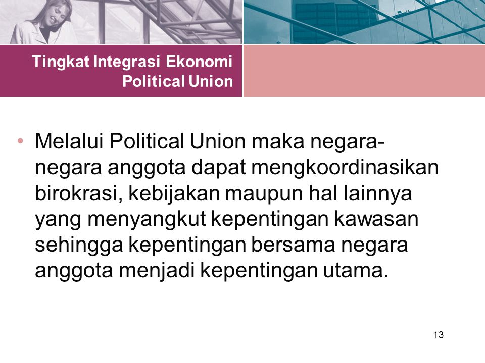 Tingkat Integrasi Ekonomi Political Union