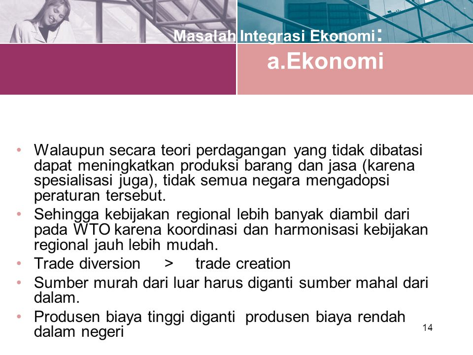 Masalah Integrasi Ekonomi: a.Ekonomi