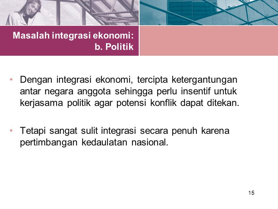 Masalah integrasi ekonomi: b. Politik