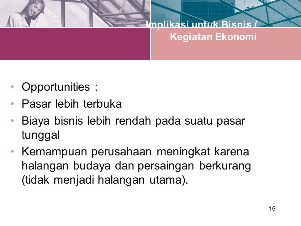 Implikasi untuk Bisnis / Kegiatan Ekonomi