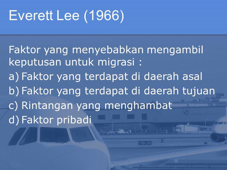 Everett Lee (1966) Faktor yang menyebabkan mengambil keputusan untuk migrasi : Faktor yang terdapat di daerah asal.