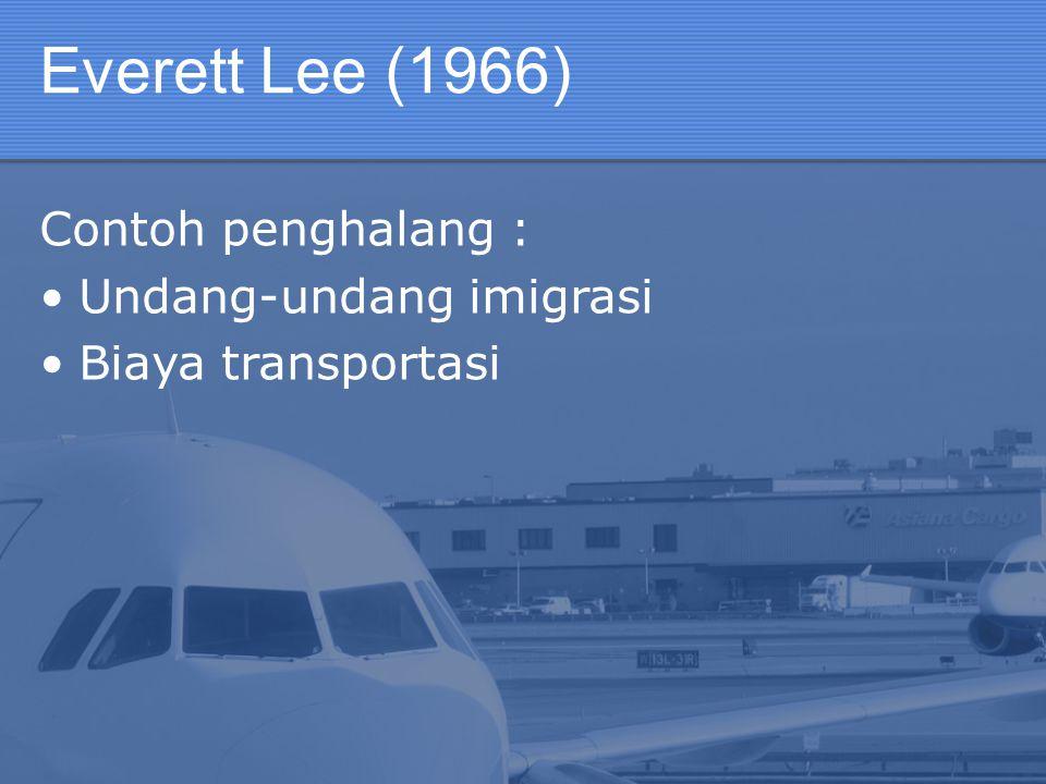 Everett Lee (1966) Contoh penghalang : Undang-undang imigrasi