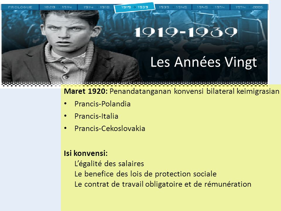 Les Années Vingt Maret 1920: Penandatanganan konvensi bilateral keimigrasian. Prancis-Polandia. Prancis-Italia.