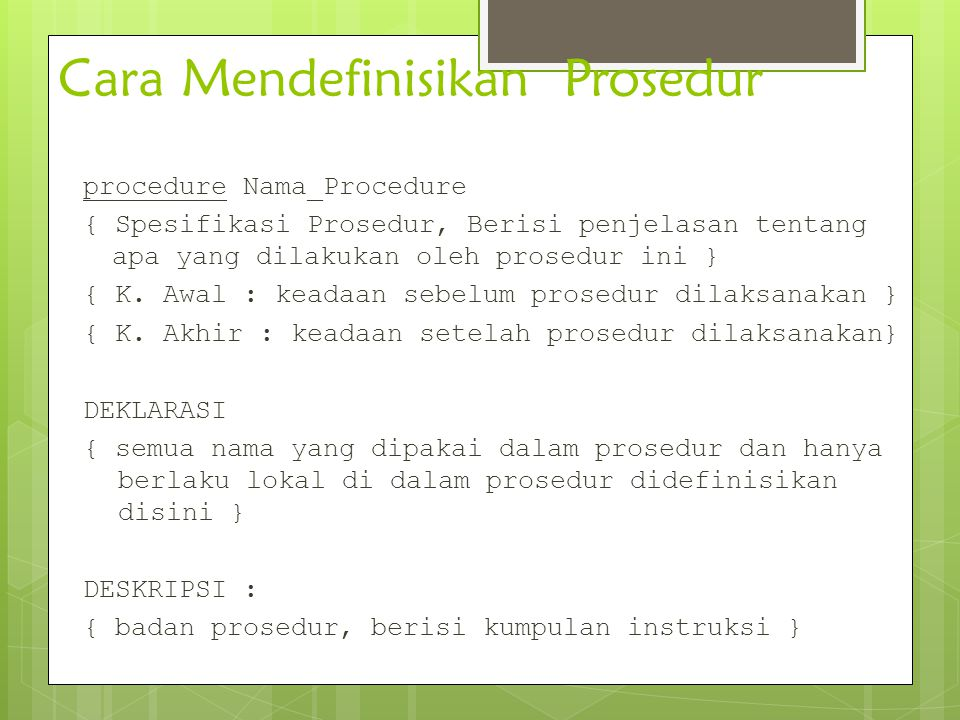 Cara Mendefinisikan Prosedur