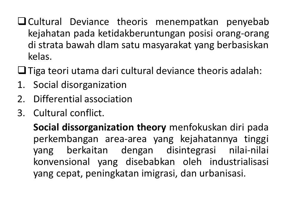 Cultural Deviance theoris menempatkan penyebab kejahatan pada ketidakberuntungan posisi orang-orang di strata bawah dlam satu masyarakat yang berbasiskan kelas.