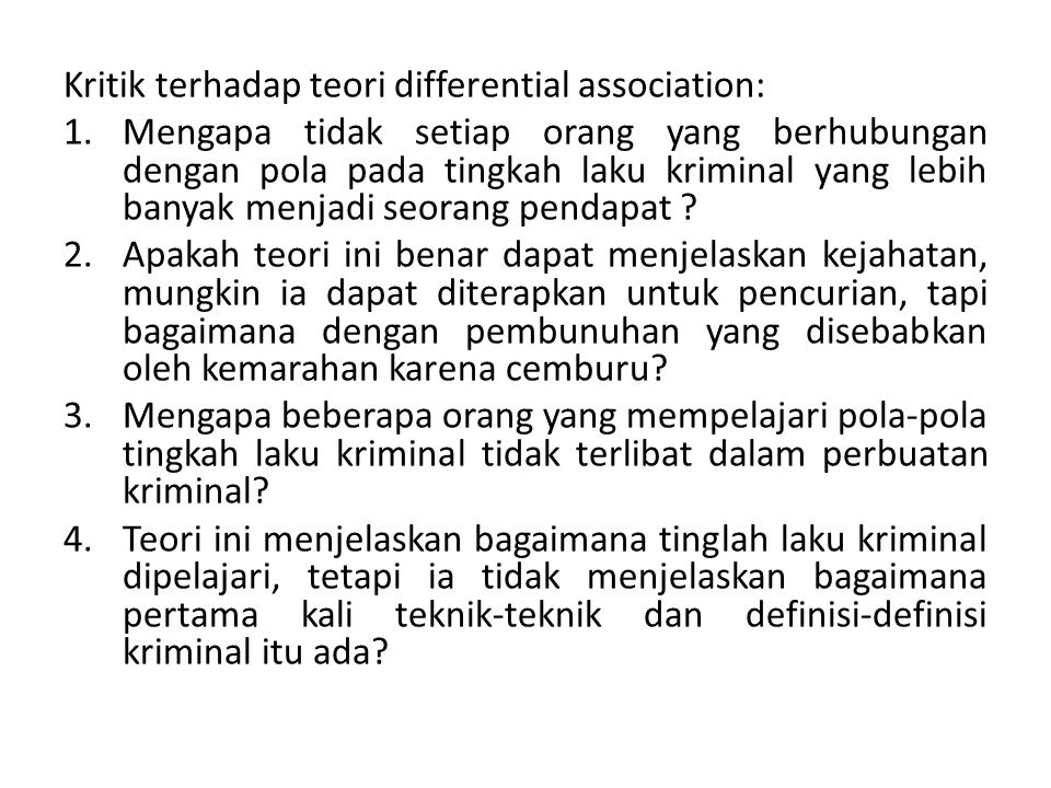 Kritik terhadap teori differential association: