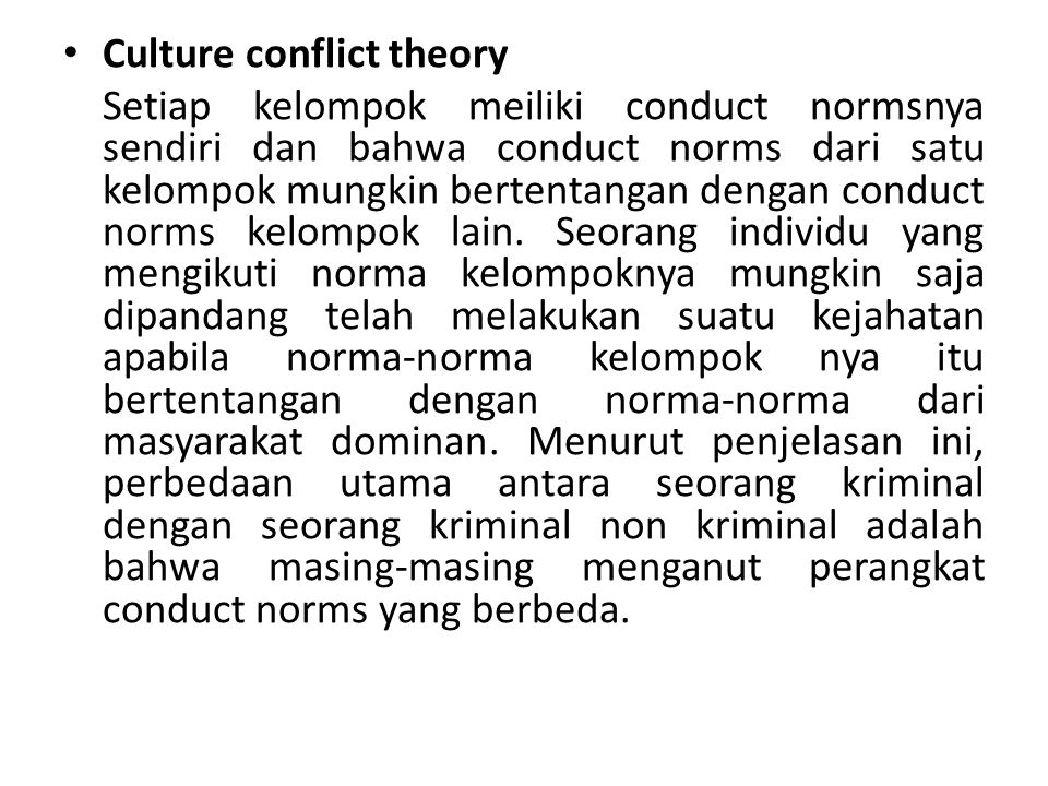 Culture conflict theory