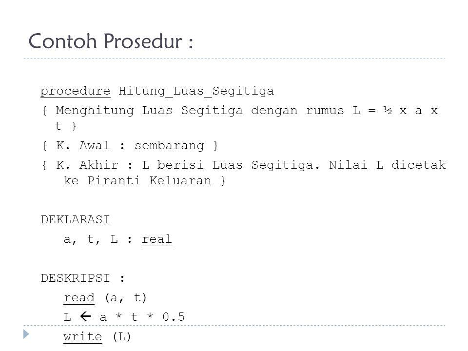 Contoh Prosedur :