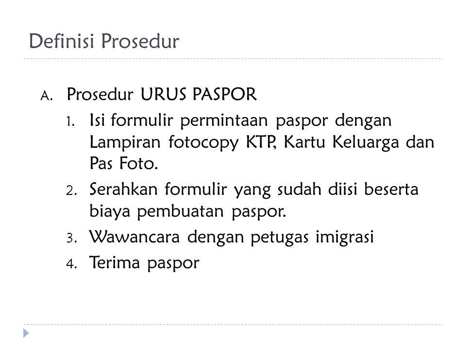 Definisi Prosedur Prosedur URUS PASPOR