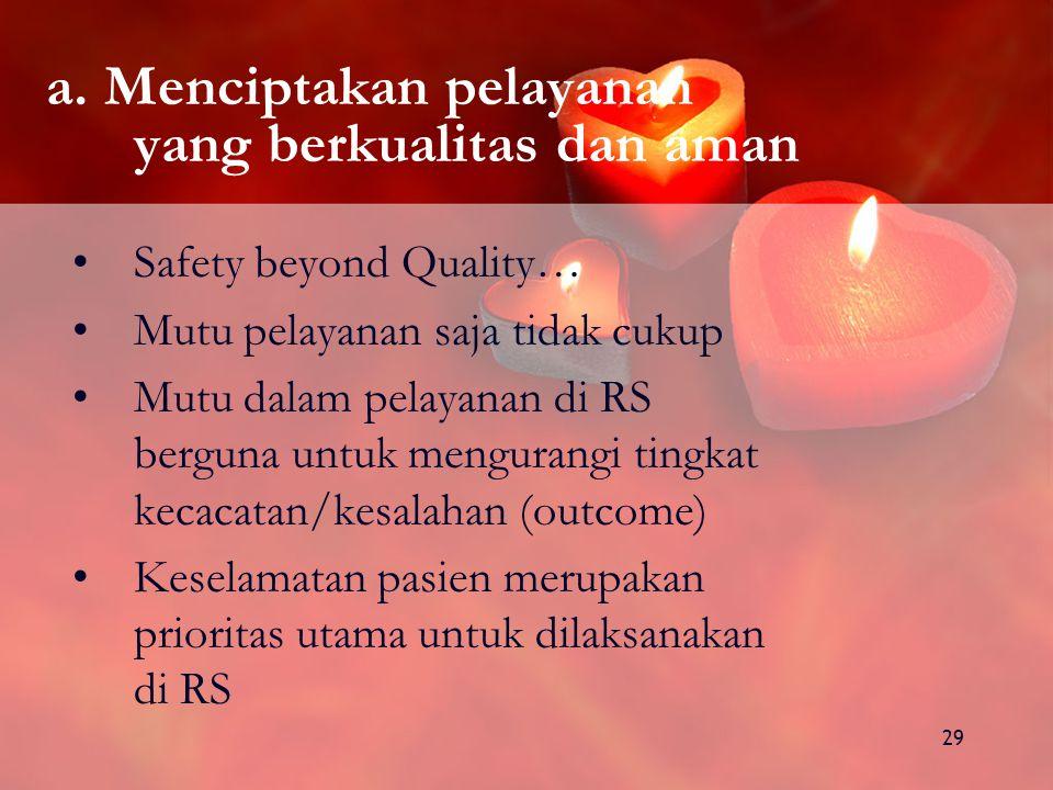 a. Menciptakan pelayanan yang berkualitas dan aman