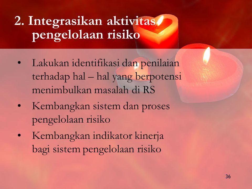 2. Integrasikan aktivitas pengelolaan risiko