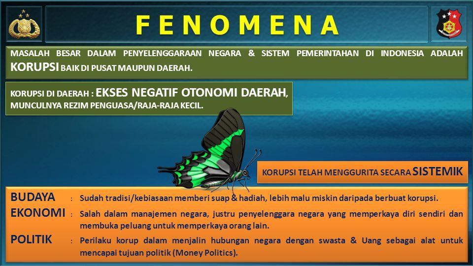 F E N O M E N A MASALAH BESAR DALAM PENYELENGGARAAN NEGARA & SISTEM PEMERINTAHAN DI INDONESIA ADALAH KORUPSI BAIK DI PUSAT MAUPUN DAERAH.