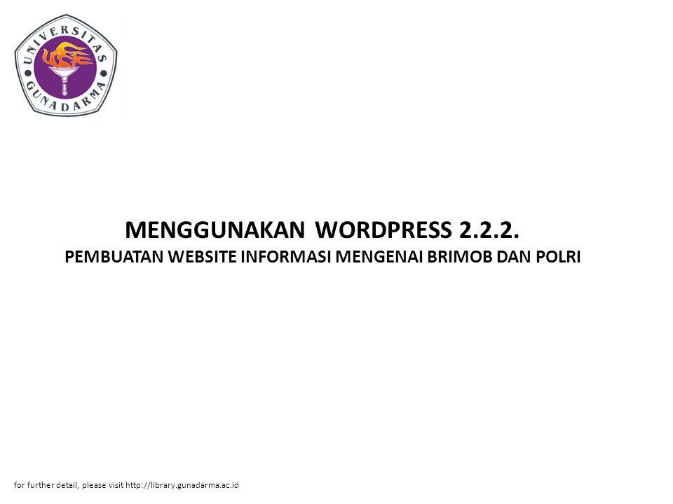 MENGGUNAKAN WORDPRESS 2. 2. 2
