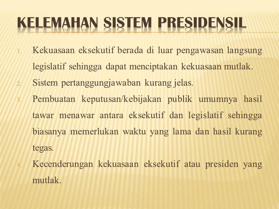Kelemahan sistem presidensil