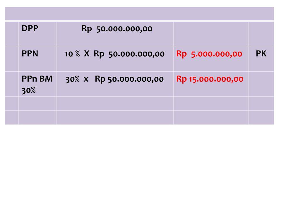 DPP Rp 50.000.000,00. PPN. 10 % X Rp 50.000.000,00. Rp 5.000.000,00. PK. PPn BM 30% 30% x Rp 50.000.000,00.