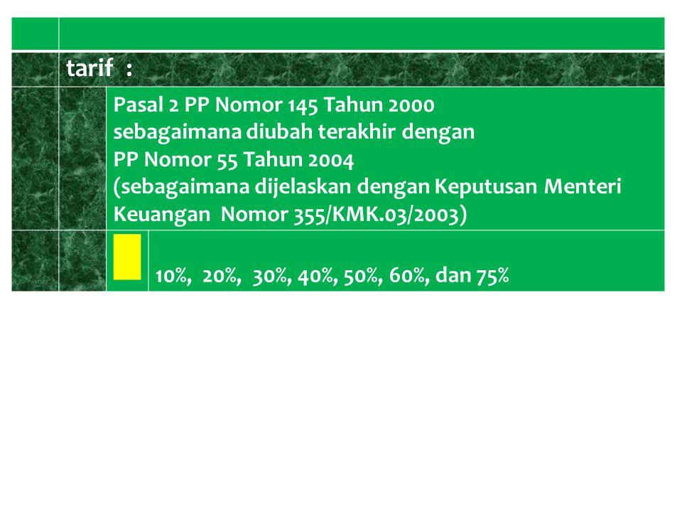 █ tarif : Pasal 2 PP Nomor 145 Tahun 2000