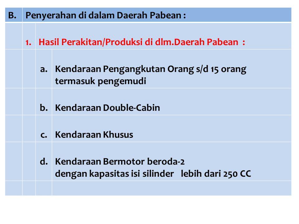 B. Penyerahan di dalam Daerah Pabean : 1. Hasil Perakitan/Produksi di dlm.Daerah Pabean : a. Kendaraan Pengangkutan Orang s/d 15 orang.
