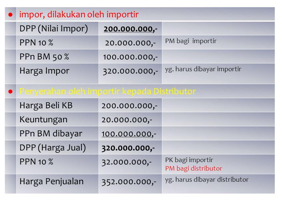 impor, dilakukan oleh importir DPP (Nilai Impor) 200.000.000,-