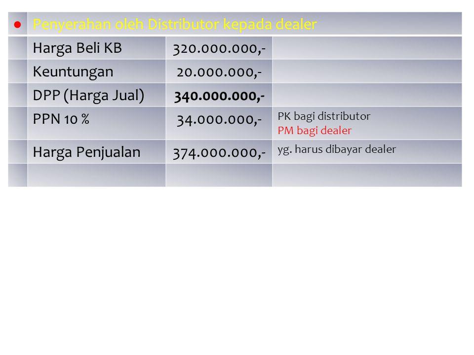 Penyerahan oleh Distributor kepada dealer Harga Beli KB 320.000.000,-